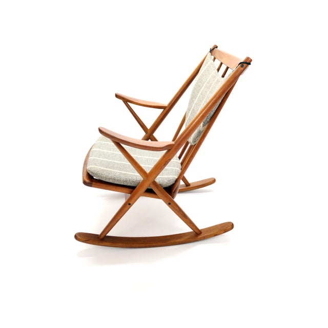Wood Vintage Frank Reenskaug for Bramin Mobler Danish Teak Rocking Chair For Sale - Image 7 of 12
