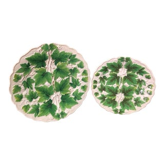 Antique Meissen Green Leaves Plates - a Pair For Sale