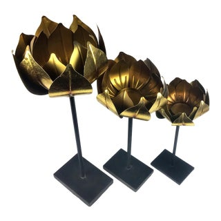 Gold Finish Tall Statement Lotus Design Candle Holders - Set of 3 For Sale