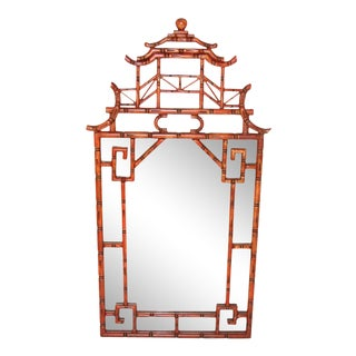 Antique Chinoiserie Faux Bamboo Painted Mirror For Sale