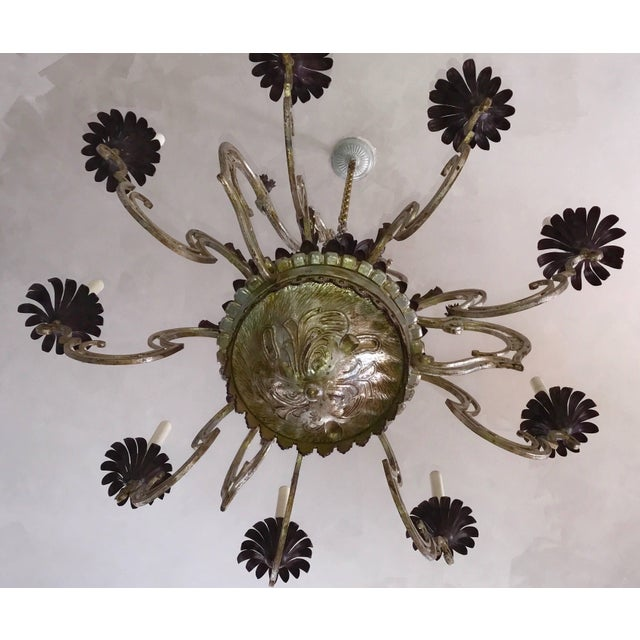 1940s Wrought Iron Chandelier For Sale - Image 5 of 7
