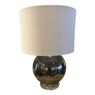 Round Globe Glass Table Lamp with Shade For Sale