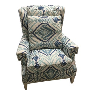 Modern Blue & Cream Wingback Chair