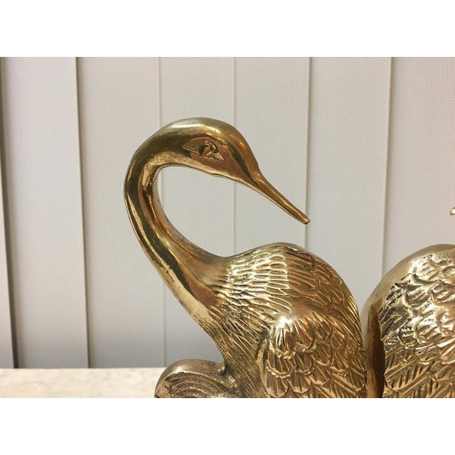 Vintage Brass Crane Bookends-a Pair For Sale - Image 4 of 7