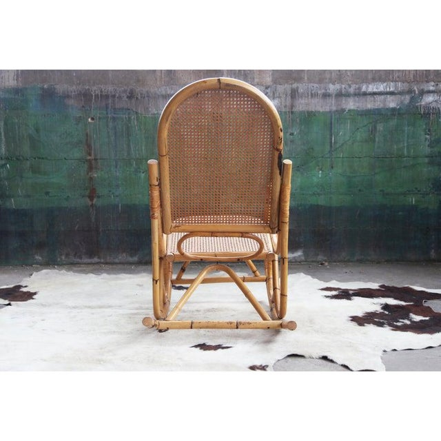 Mid-Century Hollywod Regency Boho Style Chic Rocking Chair For Sale - Image 9 of 11