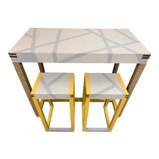 Yellow & Jute Bar Table & Stools Set For Sale
