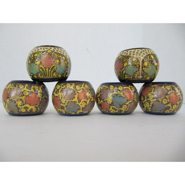 Wood Mixed Painted Indian Design Napkin Rings - 6 Pieces For Sale - Image 7 of 7