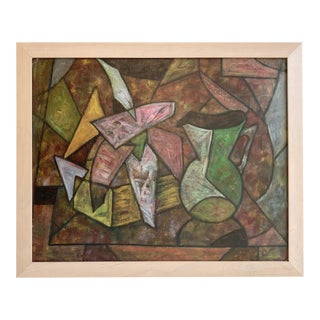 Vintage Mid-Century Cubist Oil Still Life For Sale