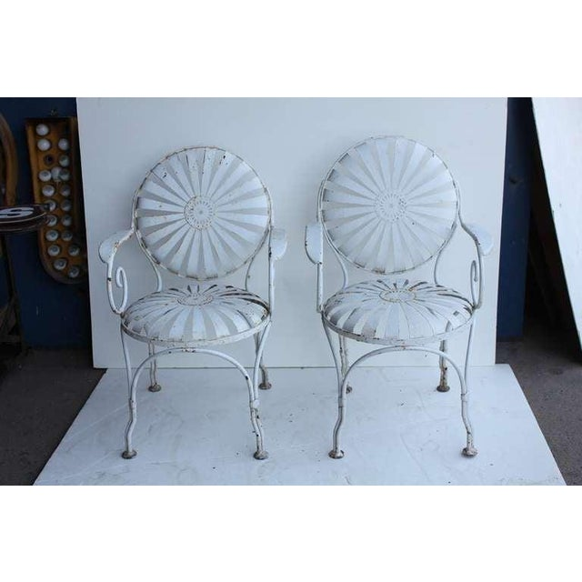 Francois Carre Vintage French Art Deco Iron Pair Sunburst Garden Side Chairs AGE/COUNTRY OF ORIGIN: 1940's, France...