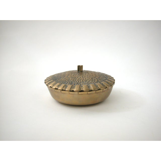 Brass Bowl with Faux-Thatch Lid - Image 3 of 8