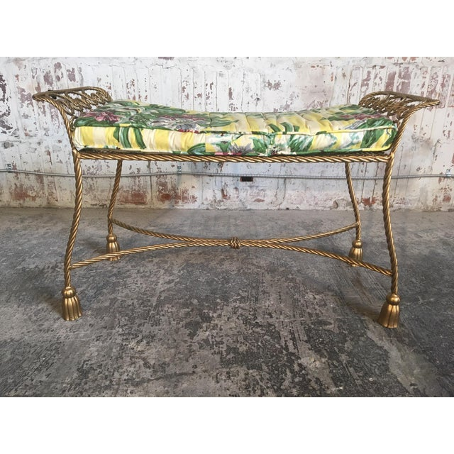 Hollywood Regency Gold Gilt Wrought Iron Tassel Vanity Bench For Sale - Image 10 of 10