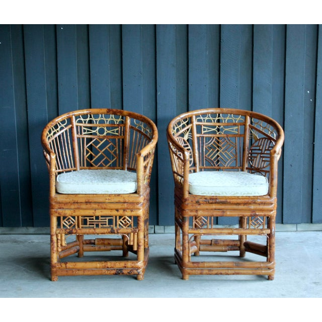 Bamboo Pair of Brighton Pavillion Bamboo Chairs With Table, Set of 3 For Sale - Image 7 of 13