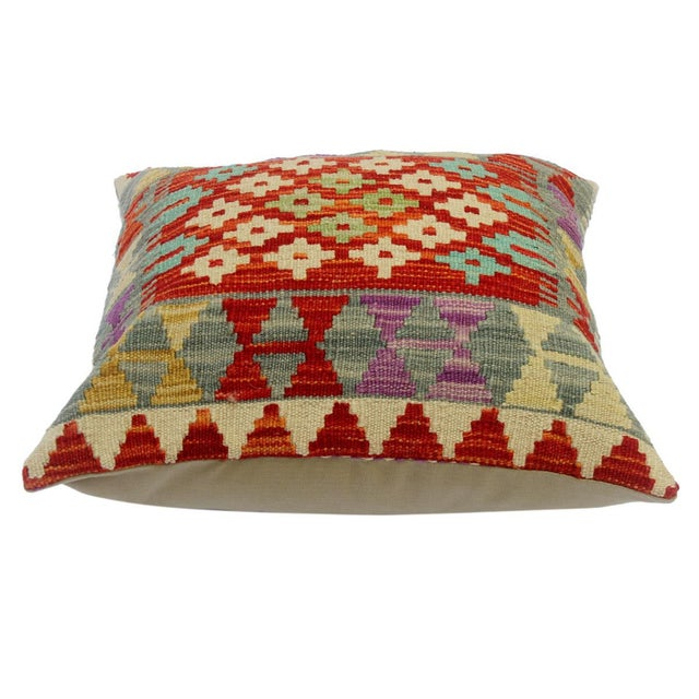 """Asian Cheri Red/Gray Hand-Woven Kilim Throw Pillow(18""""x18"""") For Sale - Image 3 of 6"""