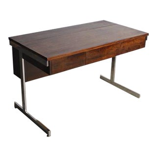 Lane Mid-Century Modern Rosewood& Chrome Compartment Desk For Sale