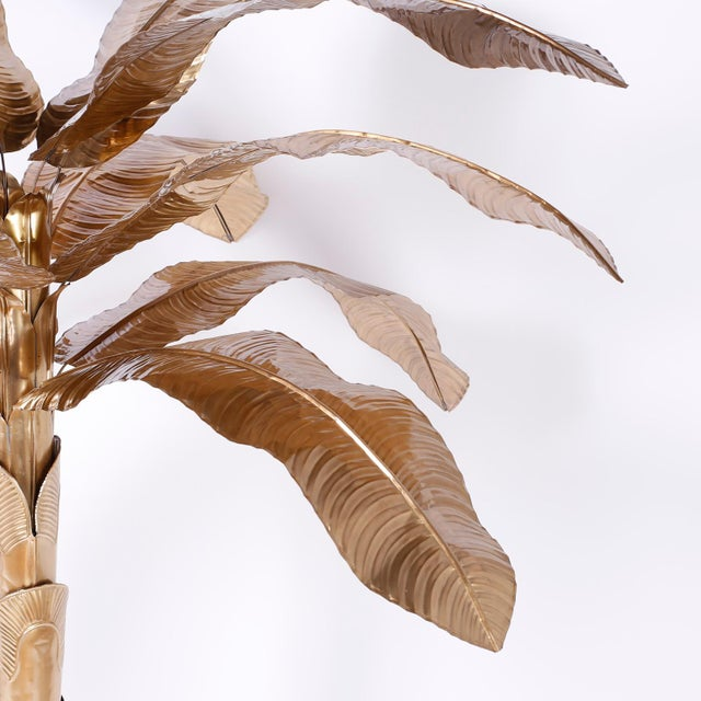 Midcentury Brass Palm or Banana Tree For Sale - Image 4 of 9