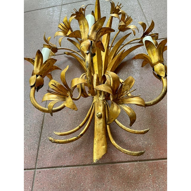 Italian Mid Century Hollywood Regency Gilt Toleware Floral Sconces - a Pair For Sale - Image 4 of 13