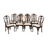 Image of Councill Set 12 Solid Mahogany Philadelphia Queen Anne Dining Chairs For Sale