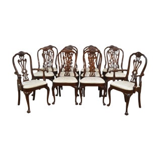 Councill Set 12 Solid Mahogany Philadelphia Queen Anne Dining Chairs For Sale