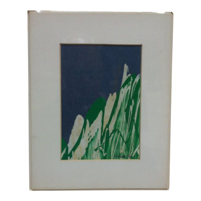 "Matted Original Painting Titled ""Snow Peaks"" by Seibut Circa 1971 For Sale"