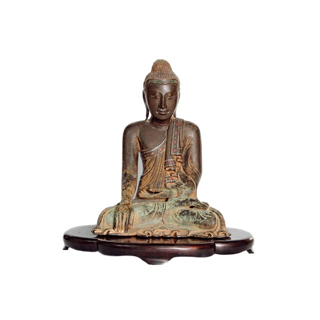 19th Century Patinated and Gilt Bronze Burmese Buddha For Sale - Image 11 of 11