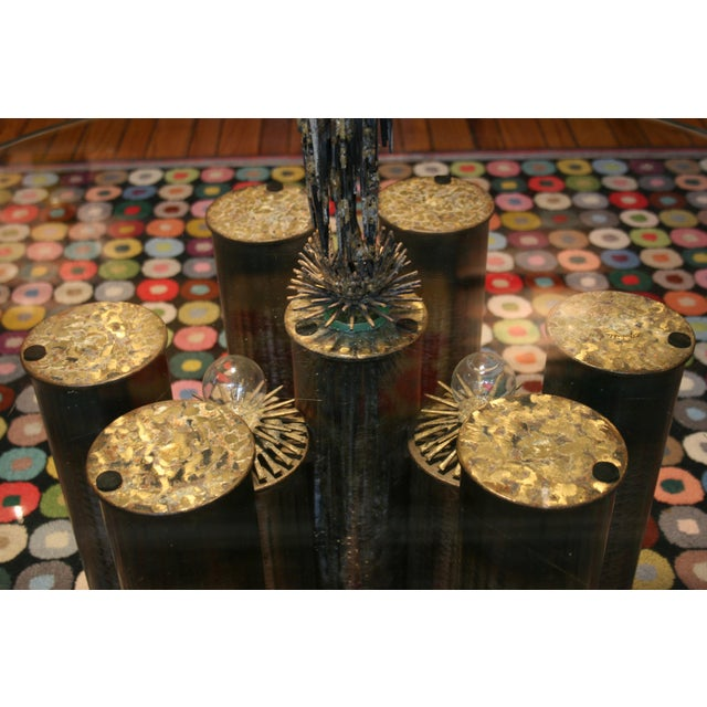 E. Garfinkle Brutalist Coffee Table With Coordinating Chandelier For Sale - Image 9 of 13