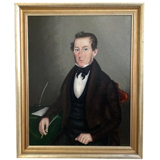 Joseph Bradley American 1839 Portrait Painting on Canvas of a Gentleman New York For Sale