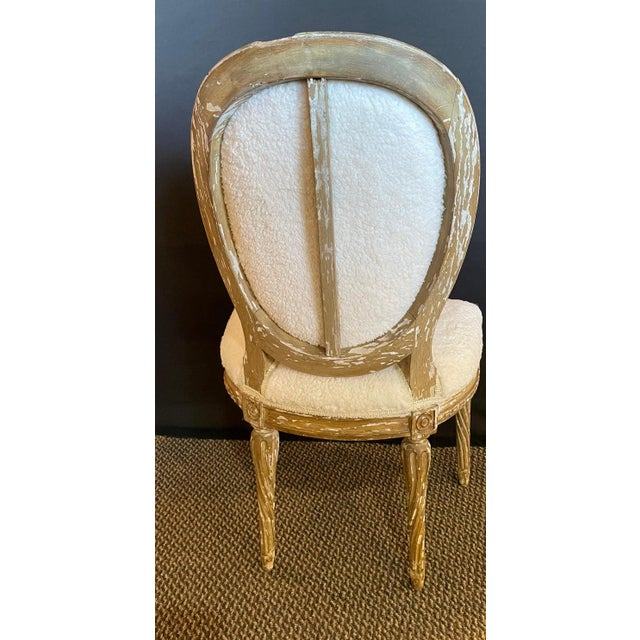 Antique White Pair of Jansen Distressed Sherpa Upholstered Side Chairs For Sale - Image 8 of 10