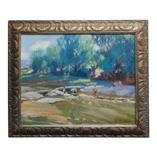 Summer at the River-California Impressionist Oil Painting-E. Andia For Sale