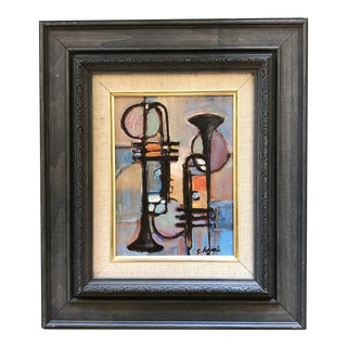 """Original Contemporary Stephen Heigh Modernist Abstract Painting """"Two Trumpets"""" For Sale"""