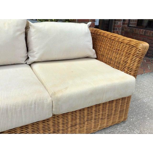 Wood Boho Chic Rattan Tuxedo Sofa For Sale - Image 7 of 11