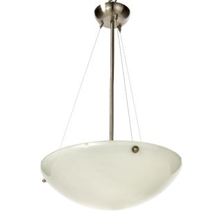 Mid-Century Modern Chrome and Marbled Glass Bowl Pendant Lamp For Sale
