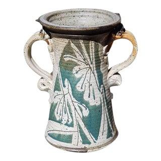 Mid Century Handmade Pottery Vase For Sale