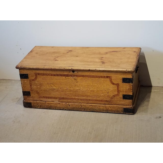 Late 19th Century Antique Pine Trunk With Original Hardware For Sale - Image 11 of 13