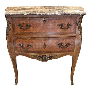20th Century Louis XV Parquet Bombay Dresser With Ormolu For Sale
