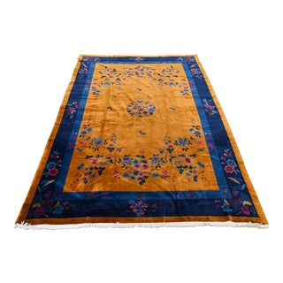 """1930s Chinese Art Deco Area Rug 9'11"""" X 14'6"""" For Sale"""