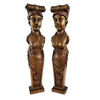 Antique Caryatid Corbel Bracket Carved Wood Goddess Woman Architectural Salvage - A Pair For Sale
