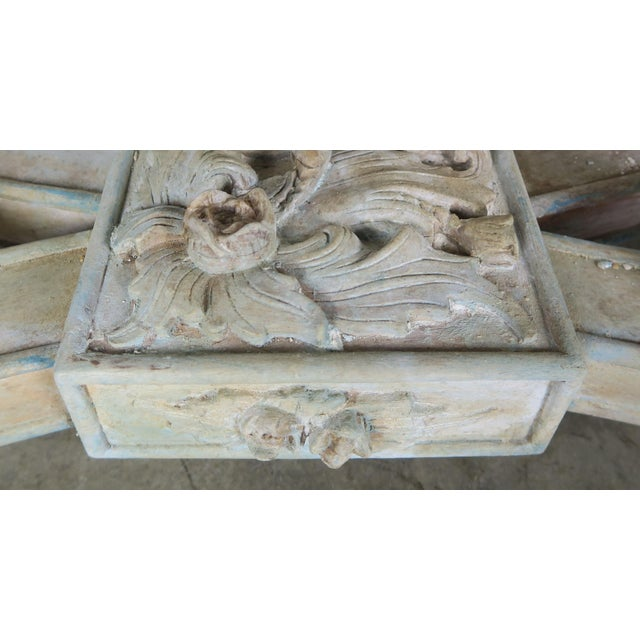 Wood Early 20th Century French Carved Painted Console Table For Sale - Image 7 of 12