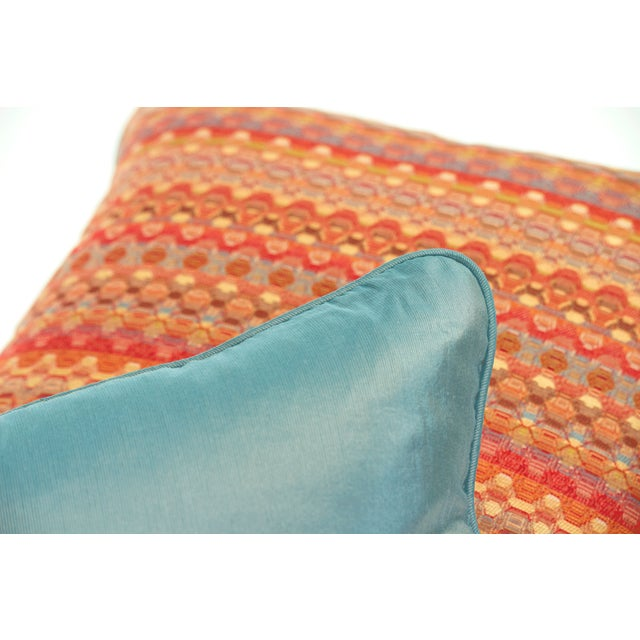 Poppy & Aqua Silk Pillows - A Pair - Image 4 of 8