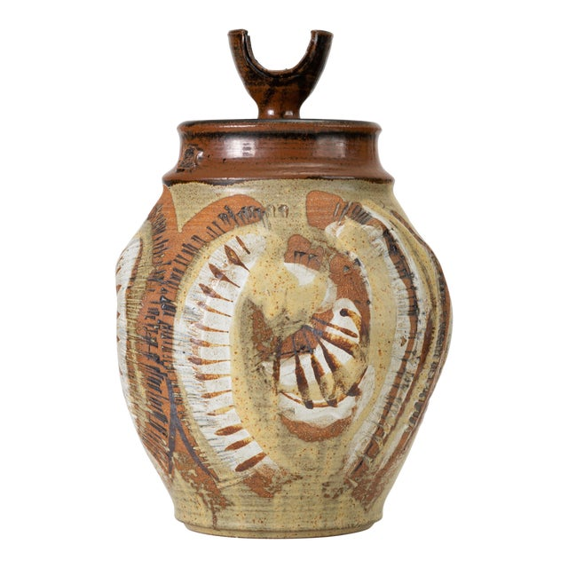 California Modern Large Studio Pottery Jar With Lid by Don Jennings For Sale