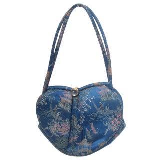 Saks Fifth Avenue Blue Satin Chinoiserie Handbag C 1960 For Sale