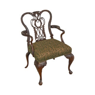Georgian Style High Quality Carved Mahogany Arm Chair