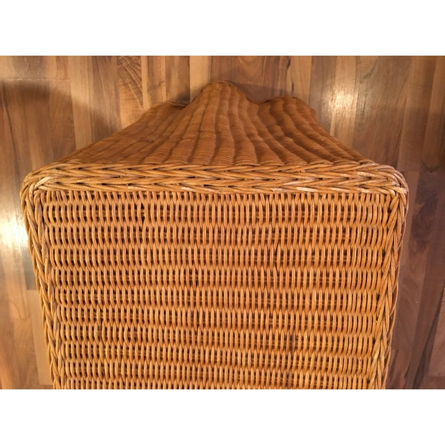 1970s Boho Chic Wrapped Rattan Wicker Tromp L'Oeil Console Sofa Table For Sale - Image 4 of 8