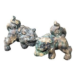 Vintage Cast Iron Verdigris Foo Dogs Lions-a Pair For Sale