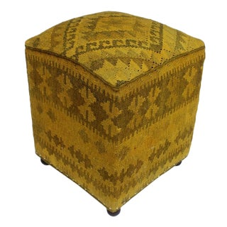 Arshs Daniell Yellow/Drk. Gray Kilim Upholstered Handmade Ottoman For Sale
