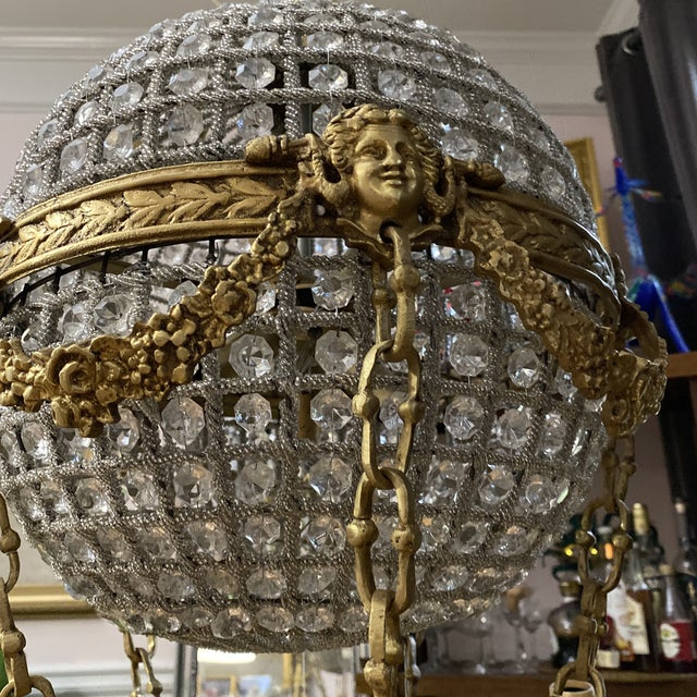 Gold Crystal and Brass Hot Air Balloon Chandelier** For Sale - Image 8 of 11