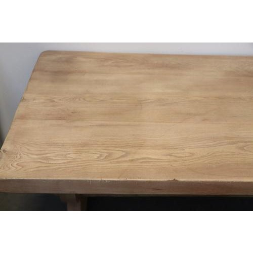 Spanish Bleached Elm Dining Table With Trestle Base For Sale - Image 4 of 7