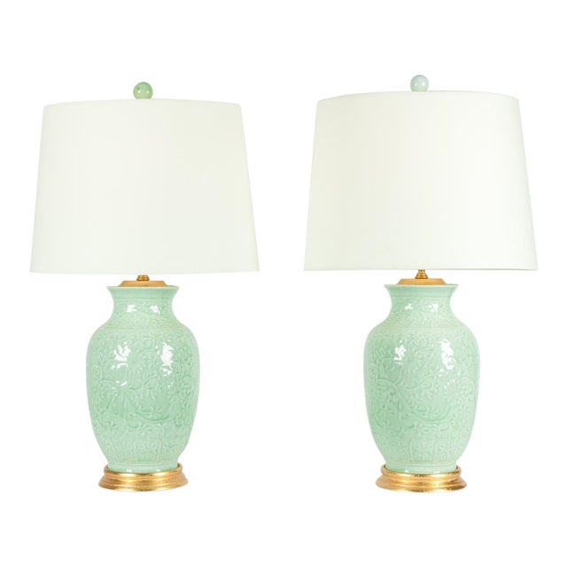 Mid-Century Porcelain on Gold Leaf Base Table Lamps - a Pair For Sale