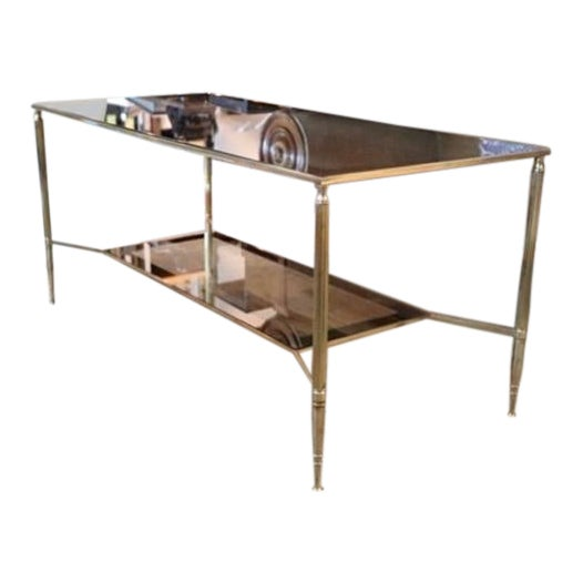 Two Tiered Brass and Mirrored Coffee Table For Sale
