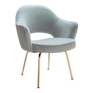 Saarinen Executive Arm Chairs in Celadon Velvet, 24k Gold Edition