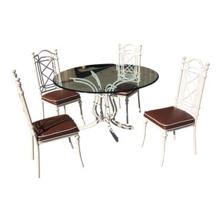 1970s White Phyllis Morris Style Metal Bamboo Dining Furniture** - Set of 6 For Sale